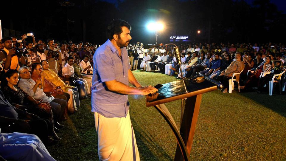 Actor Mammootty speaks at a special convention organised by film fraternity in Kochi to express solidarity with the actress who was harassed.