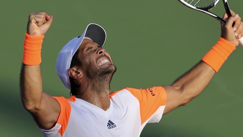 Fernando Verdasco celebrates his win over Gael Monfils in the Dubai Tennis Championships.