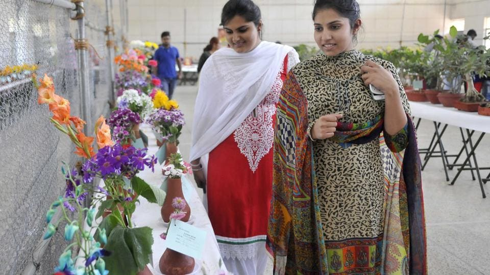 Flower competition was also organised on the occasion.  (Gurminder Singh/HT Photo)