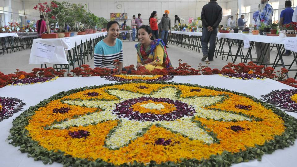 A rangoli made with fresh flowers at the agri varsity on Wednesday. (Gurminder Singh/HT Photo)