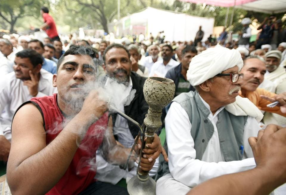 The Jat agitation for quota in jobs and education reached Delhi on Thursday with thousands of community members from the northern states descending at Jantar Mantar to extend support to the movement in Haryana. (Sonu Mehta  / HT Photo)