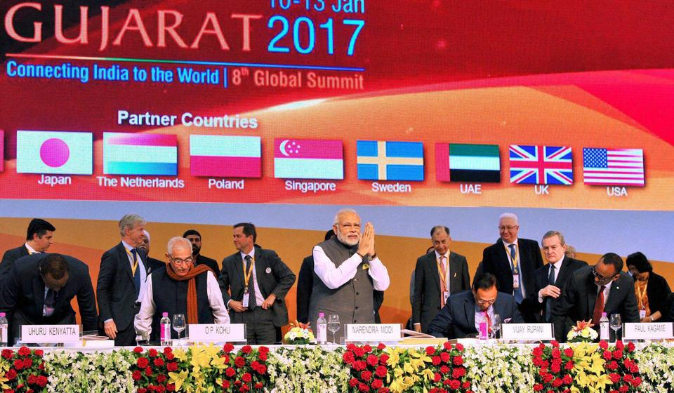 Prime Minister Narendra Modi and other dignitaries at the inauguration of the Vibrant Gujarat Global Summit 2017 in Gandhinagar.