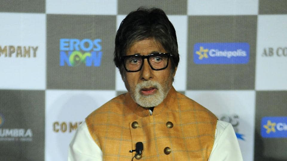 Amitabh Bachchan poses during the launch of the forthcoming Hindi film 'Sarkar 3' written and directed by Ram Gopal Varma, in Mumbai.