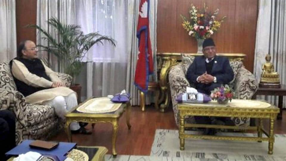 Finance Minister Arun Jaitley meets Nepal Prime Minister Pushpa Kamal Dahal in Kathmandu on Thursday.
