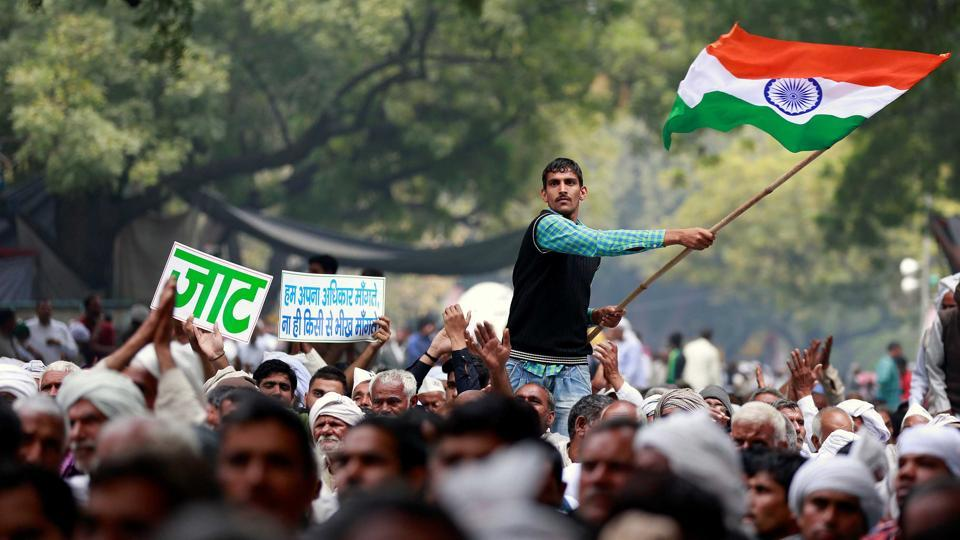 Members of Jat community protesting at Jantar Mantar in New Delhi on Thursday.