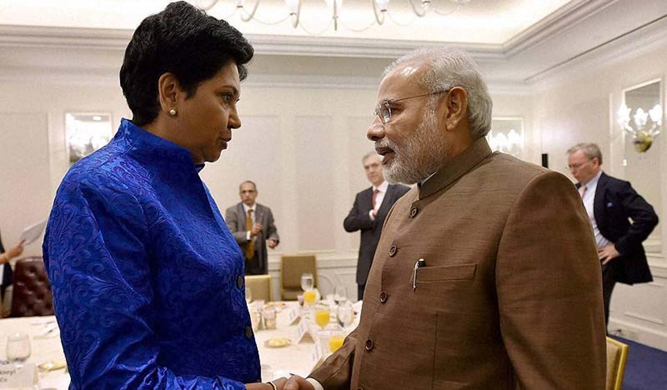 File photo of Narendra Modi with PepsiCo's Indian chairman and CEO Indra Nooyi.