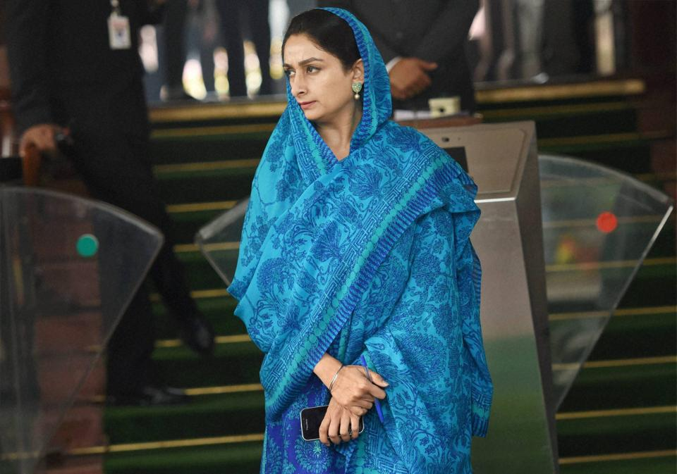 New Delhi: Union Food Processing Industries Minister Harsimrat Kaur Badal during the Winter Session at Parliament House in New Delhi on Friday. PTI Photo by Subhav Shukla(PTI12_9_2016_000119A)