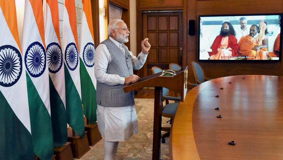 Prime Minister Narendra Modi addresses the inaugural function of the Annual International Yoga Festival at Rishikesh, through video conferencing, in New Delhi on Thursday.
