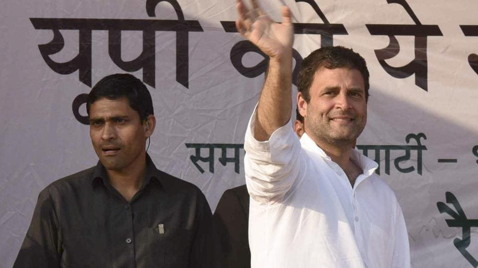 Congress vice-president Rahul Gandhi waves to supporters at an election rally at Pindra in Uttar Pradesh on Thursday.
