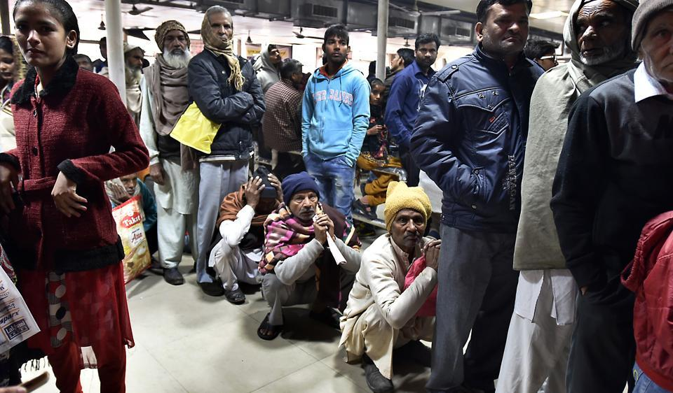 Patients waiting for their turn at Guru Teg Bahadur (GTB) Hospital. Patients have to endure long wait, sometime months, to get surgical procedures done at government hospitals due to heavy rush.