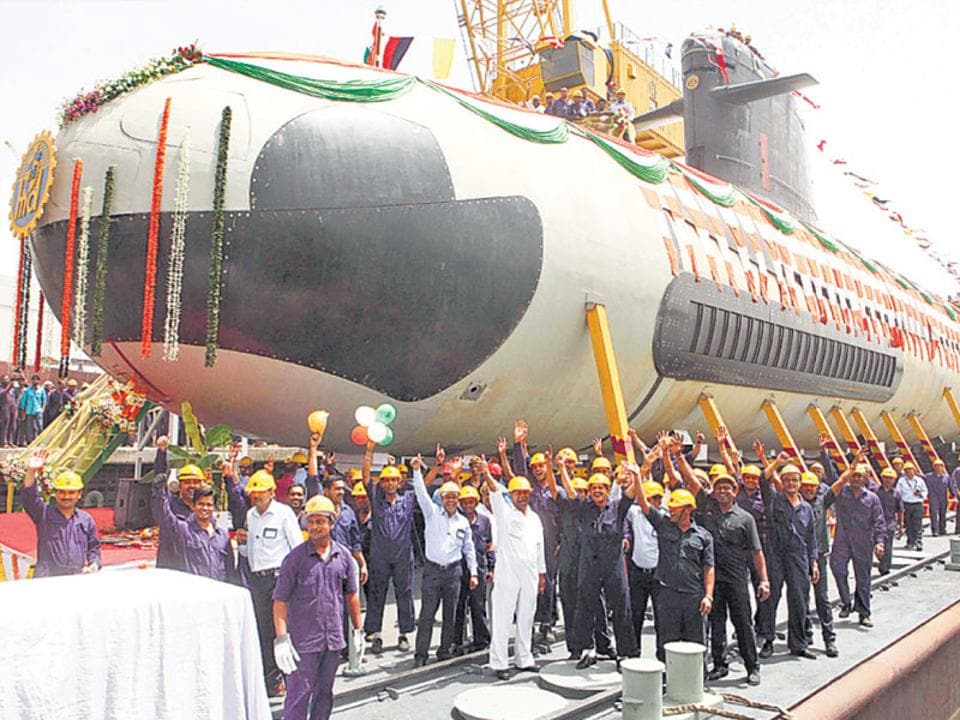 The floating-out ceremony of the Kalvari, India's first Scorpene-class submarine, in April 2015.