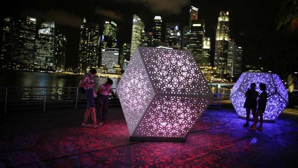 Light installation titled 'Hybycozo' by artists Yelena Filipchuk and Serge Beaulieu of the United States and Canada . (Wong Maye-E / AP)