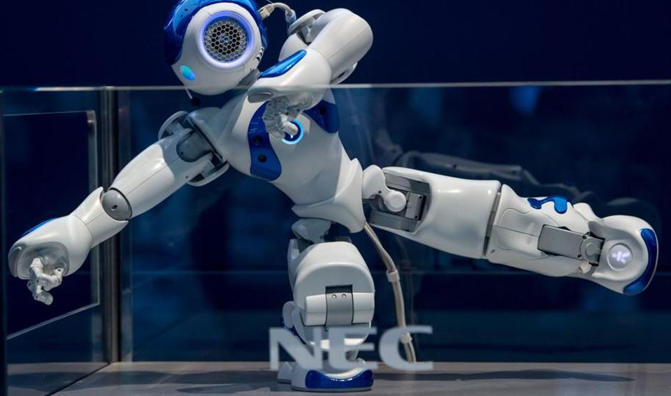 NEC's NAO robot does a demonstration during the Mobile World Congress  (AFP)