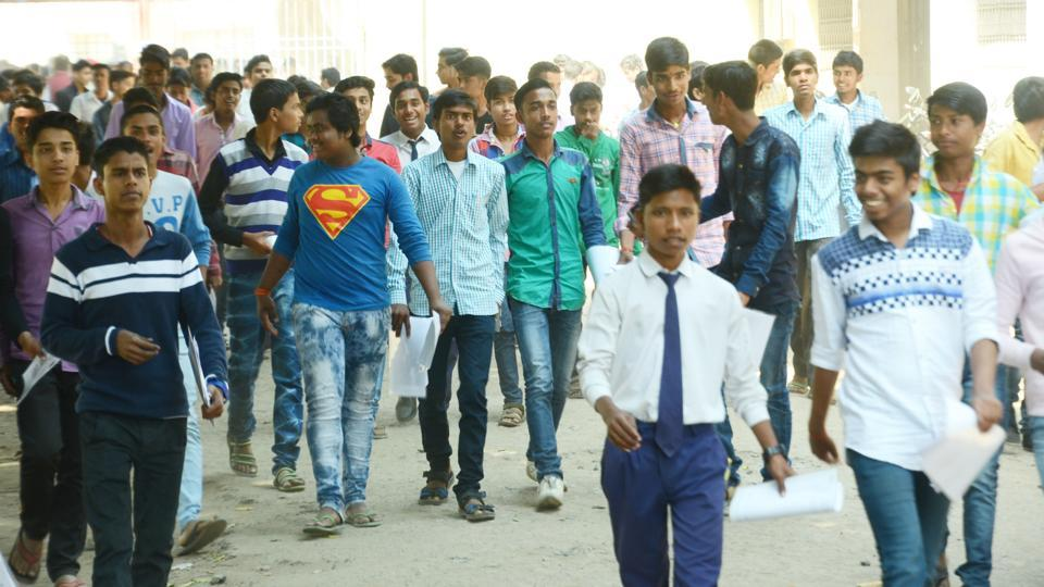 Students coming out of a matric examination centre in Patna.
