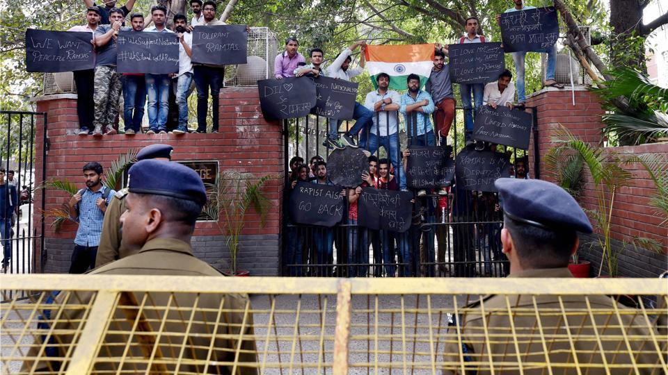 Student of Ramjas College during their protest march against ABVP at North Campus in New Delhi on February 28.