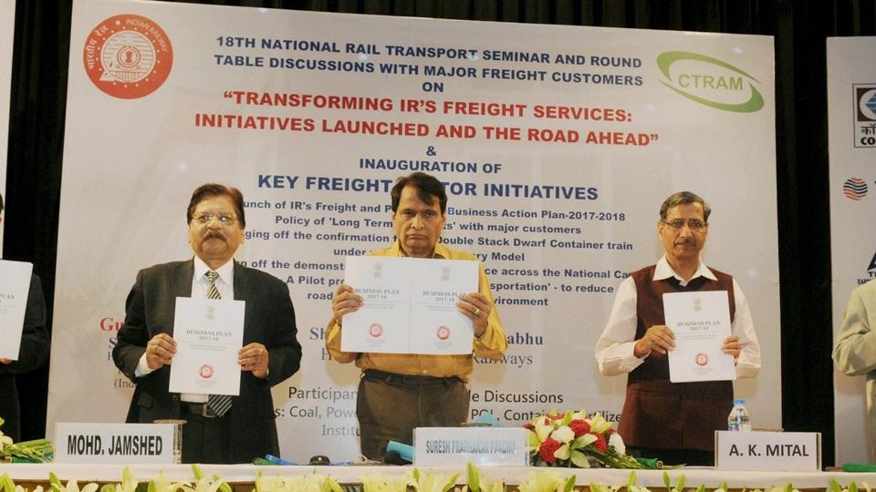 Railways minister Suresh Prabhu launches the Indian Railways Freight and Passenger Business Action Plan- 2017-18 at a function at the National Rail Museum in New Delhi on Thursday.