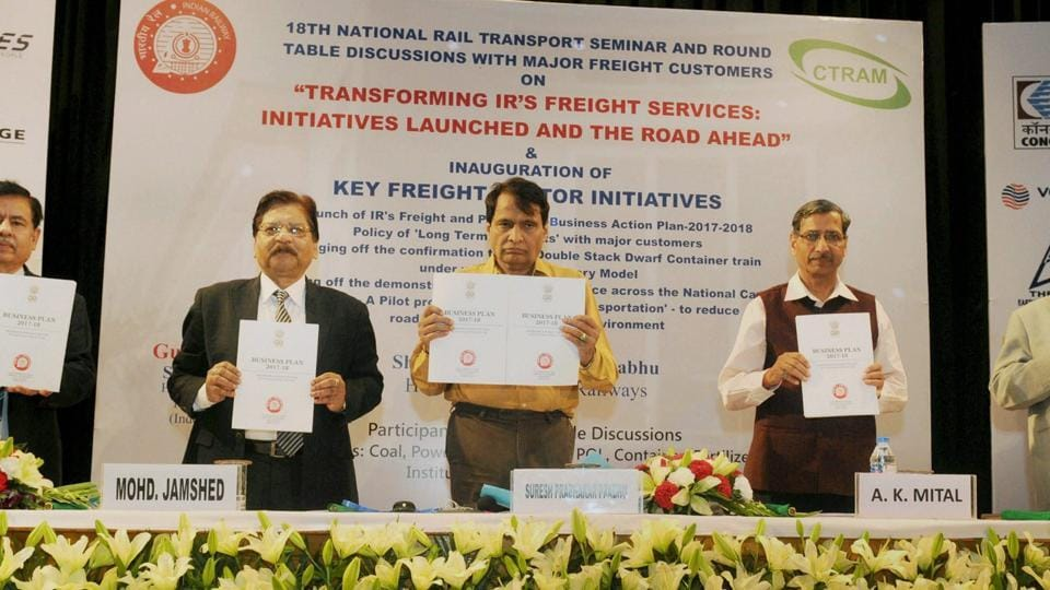 Railways minister Suresh Prabhu during the launch of the Indian Railways Freight and Passenger Business Action Plan- 2017-18 at a function at the National Rail Museum in New Delhi on Thursday.