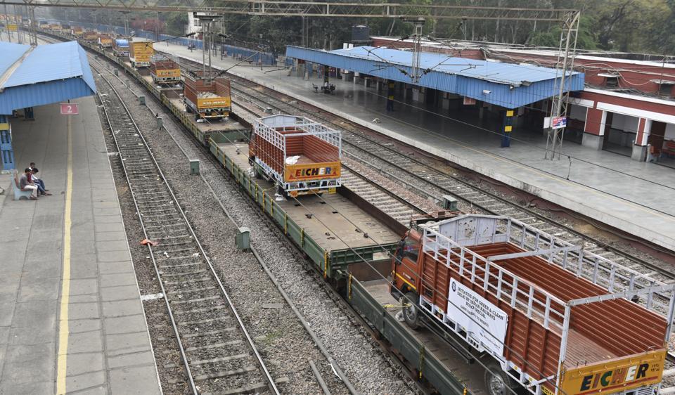 The Ro-Ro train leaves for Murad Nagar in Up on Thursday.