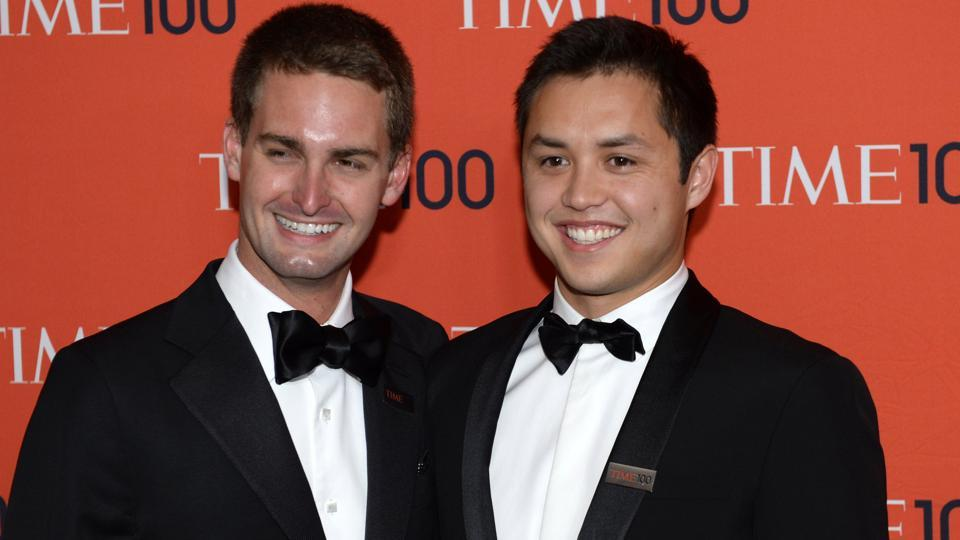 Snapchat co-founders Evan Spiegel and Bobby Murphy attending the Time 100 Gala.