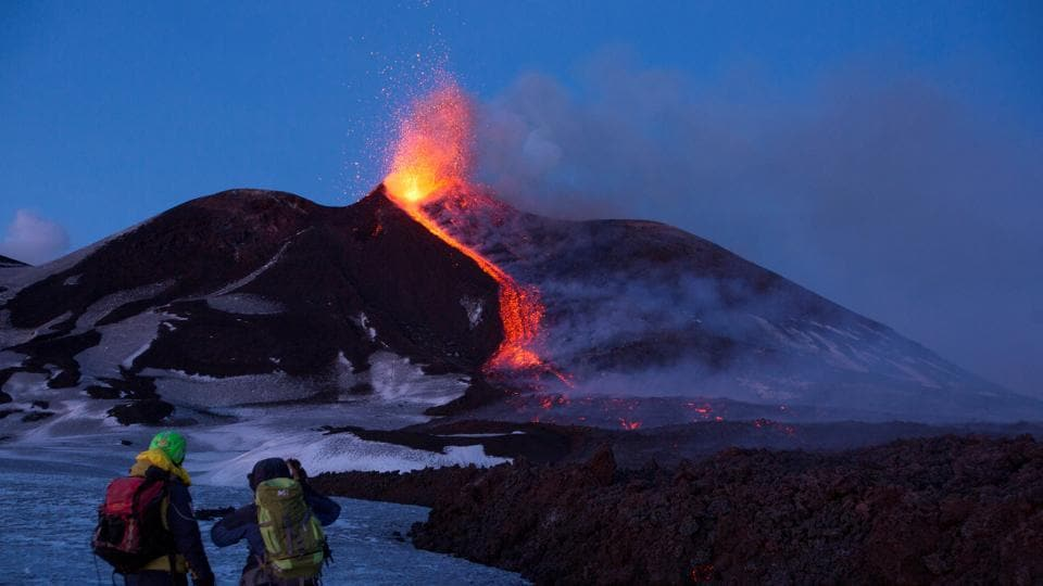 Italy's Mount Etna, the largest volcano in Europe, erupted on February 27 for the second time this year. (Antonio Parrinello / REUTERS)