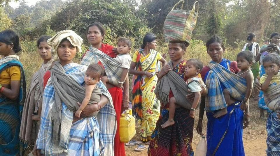 Tribals of Gampur village march towards Kirandul police station to protest against the alleged fake encounters.