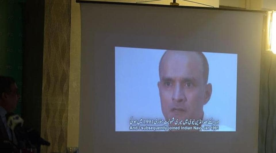 """A video showing Kulbhushan Jadhav, suspected of being an Indian spy, during a news conference in Islamabad in March  2016. After arresting Jadhav, Pakistan claimed Jadhav's arrest """"proves"""" India's role in stoking violence in the restive Balochistan province."""