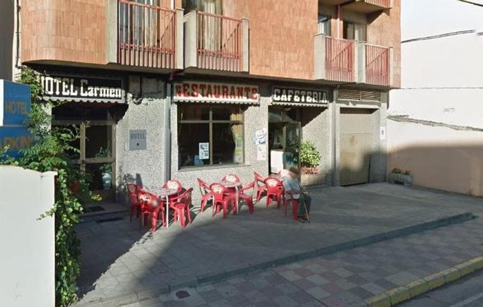 Hotel Carmen restaurant in Bembibre in northern Spain, where over 100 people partied and then fled without paying.