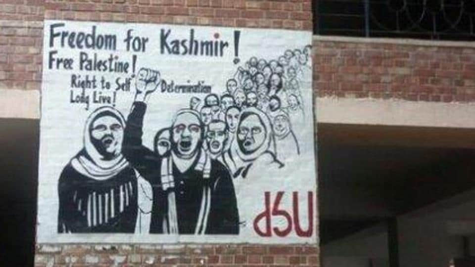 A poster demanding 'Freedom for Kashmir' has come up in JNU campus.