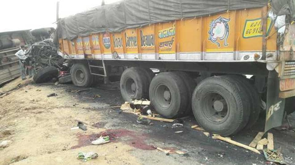 Twelve persons were killed when their jeep collided with a truck in Rajasthan's Hanumangarh district.
