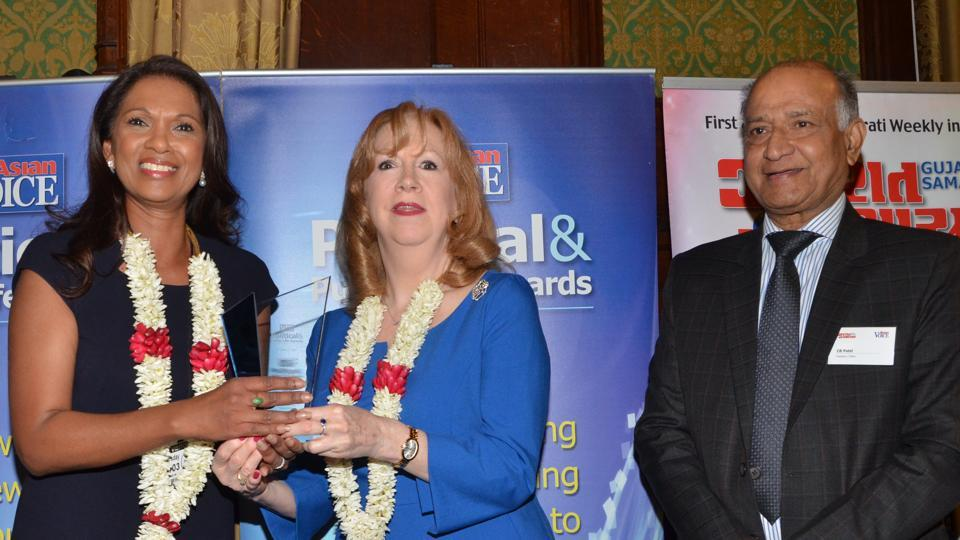 Gina Miller (left) receives the 'campaigner of the year' award at the Asian Voice Political and Public Life Awards ceremony in the House of Commons on Thursday. Also seen are deputy speaker of the House of Commons Eleanor Laing (centre) and CB Patel (right).