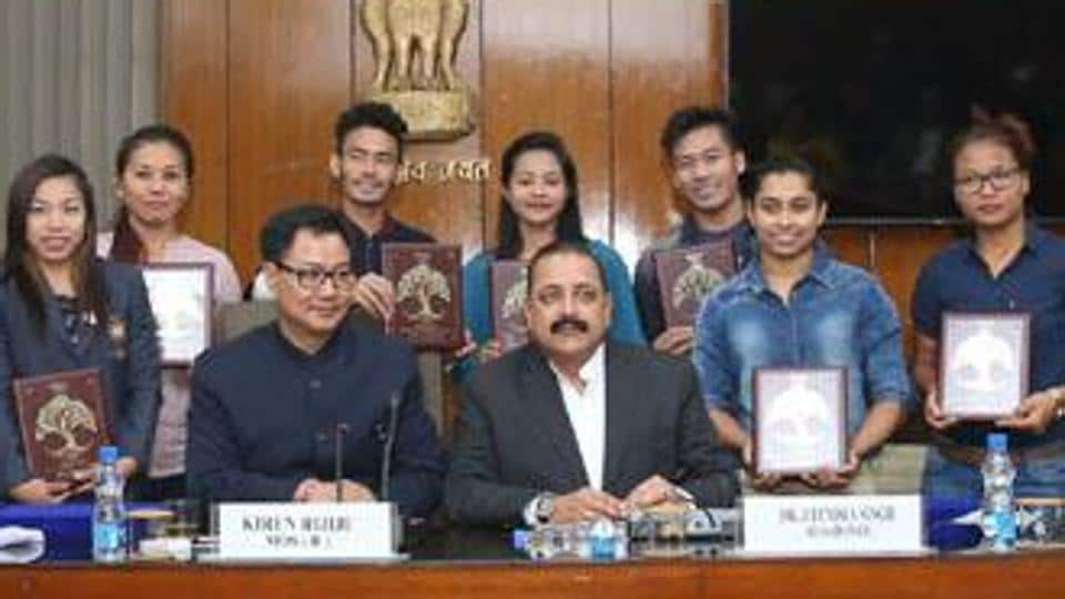 Kiren Rijiju and Jitendra Singh felicitated sportspersons of northeastern states, who participated in Rio Olympics, on February 28.