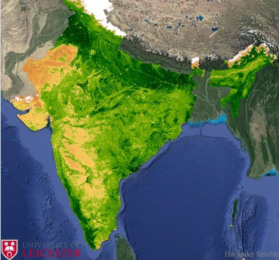 The normalised difference vegetation index (NDVI) over India, calculated from data collected by NASA's MODIS space sensor. NDVI indicates the presence of live vegetation on earth's surface — the deeper the intensity of green (as observed across north India), the denser the vegetation.
