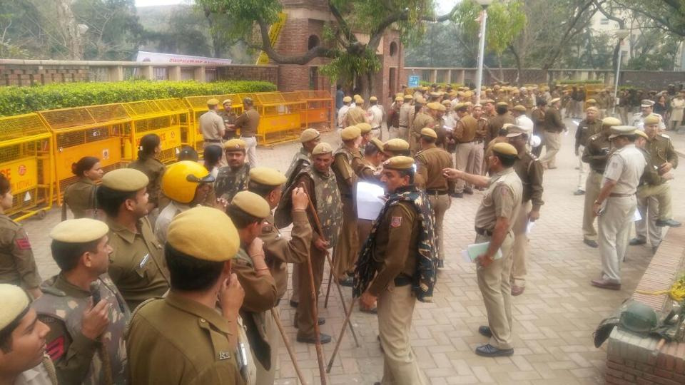 Cop deployment during the protest by ABVP at North Campus on Thursday.