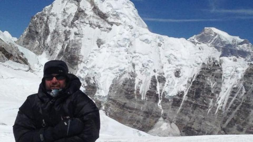 Leslie John Binns climbing towards Mount Everest last year.