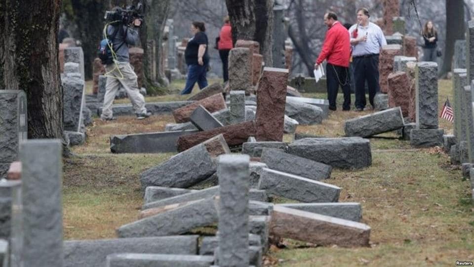 The vandalism of more than a dozen headstones at a Jewish cemetery in Rochester is being investigated by a New York hate crime task force, the third known case of a Jewish cemetery desecration in the country.
