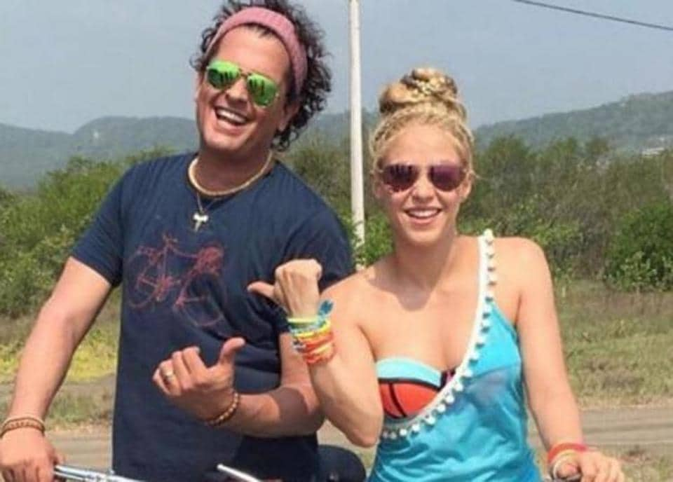 Shakira and Carlos Vives while shotting for their superhit song La Bicicleta, that was released last year.