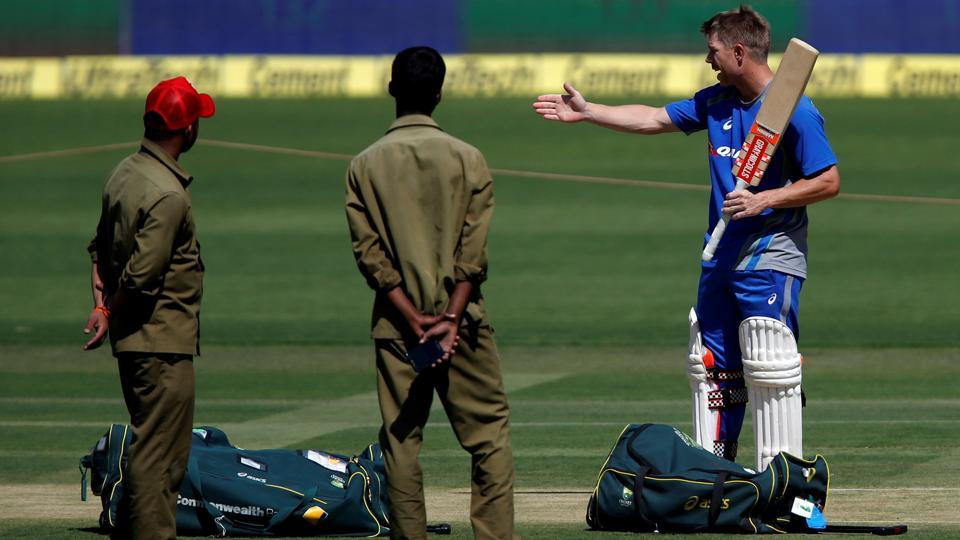 Australia's David Warner inspects the pitch ahead of their second test match. (REUTERS)