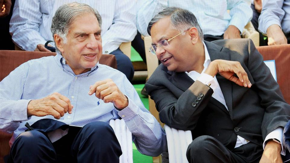 Former chairman of Tata Sons Ratan Tata (left) and chairman of Tata Sons Natarajan Chandrasekaran at the 178th birth anniversary of Tata Steel Founder JN Tata in Jamshedpur on Friday.