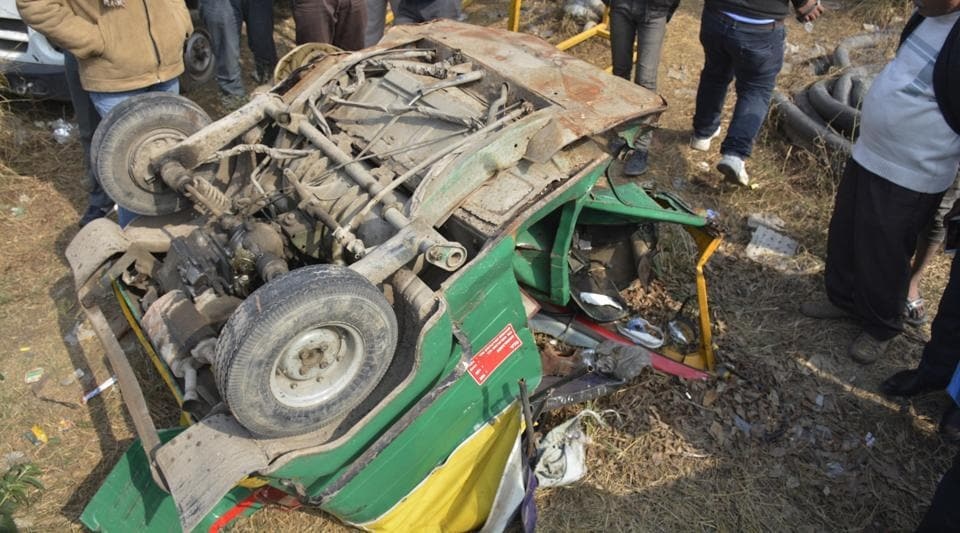 The remains of the auto that was hit by the speeding Audi Q7 on the Hindon canal road, killing four people on the spot.