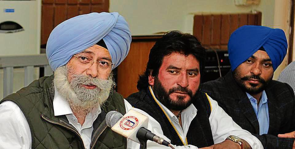 AAP senior leader HS Phoolka during a press conference in Jalandhar on Friday.