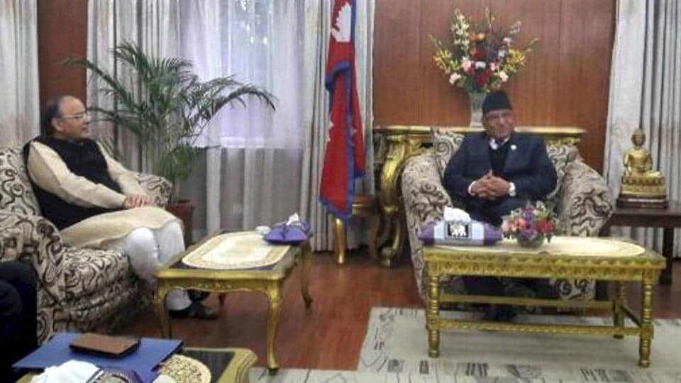 Finance Minister Arun Jaitley Meets Nepal Prime Pushpa Kamal Dahal In Kathmandu On Thursday