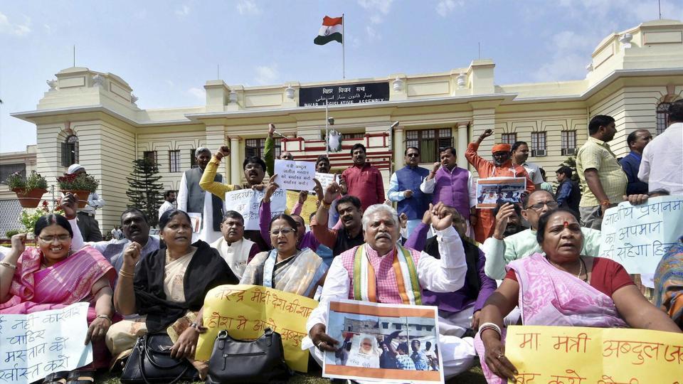NDAlegislators stage a demonstration outside the Bihar assembly in Patna on Friday.