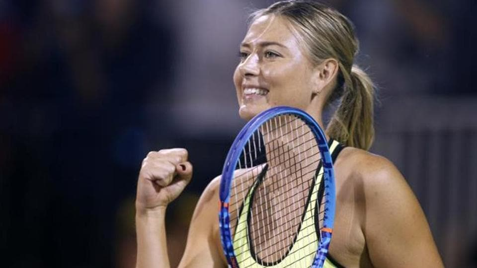 Maria Sharapova reacts after a point during a World Team Tennis exhibition to benefit the Elton John AIDS Foundation on Oct. 10, 2016, in Las Vegas. (File photo)