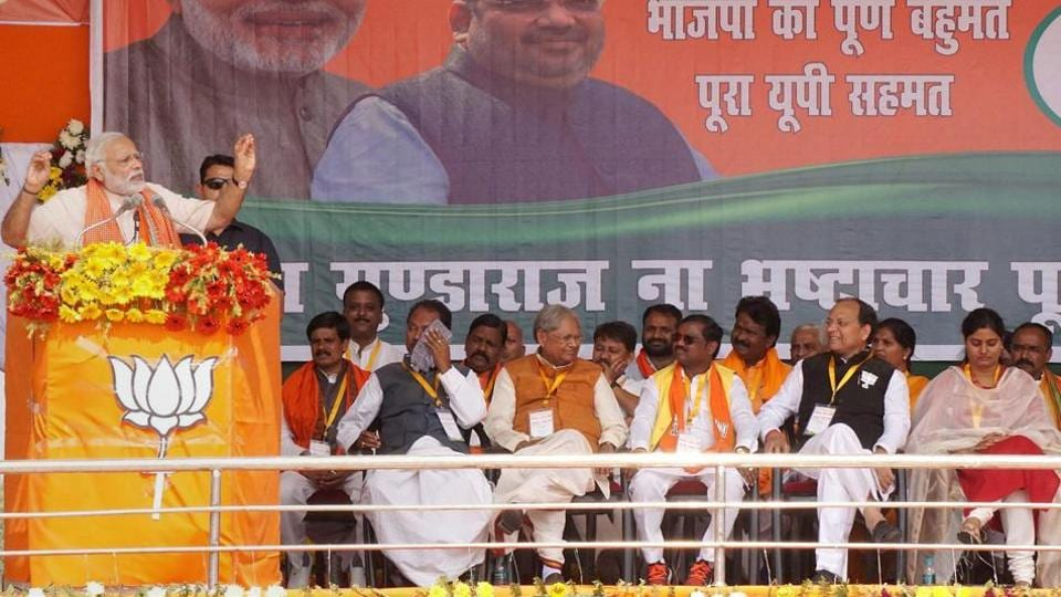 Prime Minister Narendra Modi addresses an election rally in Mirzapur on Friday.