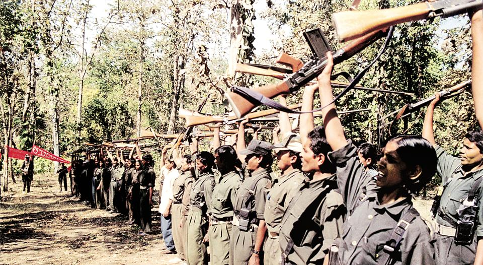A file photo of a Naxal training camp. A fierce gunbattle started between the Naxals and the security forces near Cherli, about 450 km from state capital Raipur.