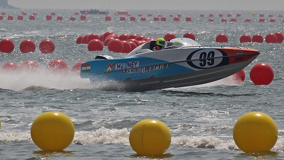 The first Grand Prix will be contested between six teams, each with four members. The powerboat will have a pilot, a navigator and two more members as crew.  (Satyabrata Tripathy/HT Photo)