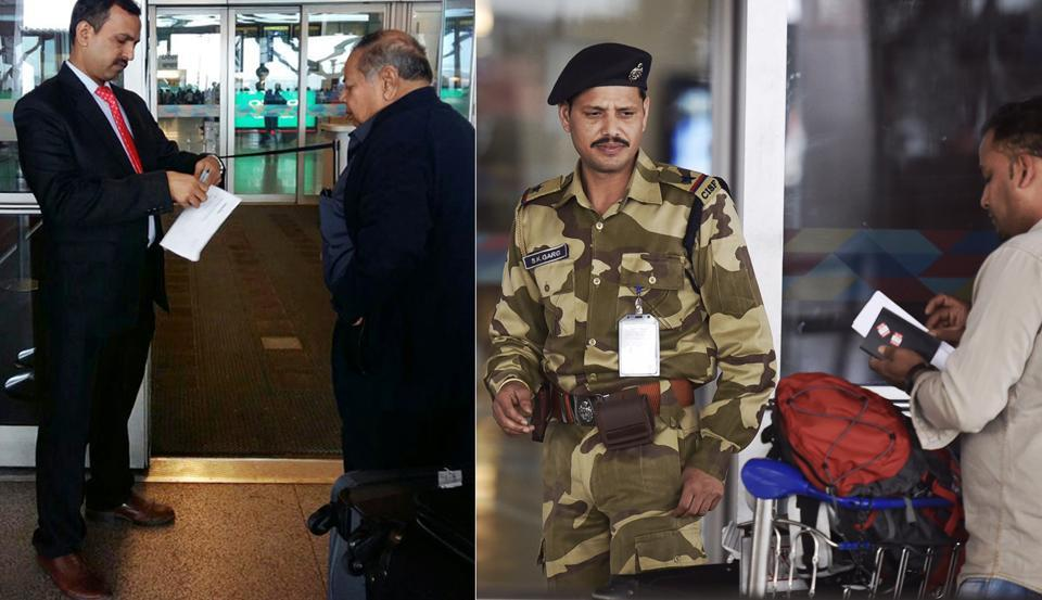 The staff posted at the entry gates of Terminal 1 and Terminal 3 of Delhi airport were given blue blazers and trousers with white shirt and tie as their new dress code.