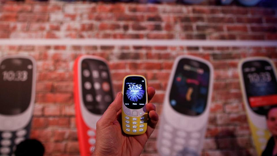 A Nokia 3310 device is displayed after its presentation ceremony at Mobile World Congress in Barcelona.