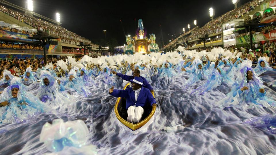Revellers from Portela samba school perform during the second night of the carnival parade at the Sambadrome in Rio de Janeiro, Brazil. (Ricardo Moraes / REUTERS)