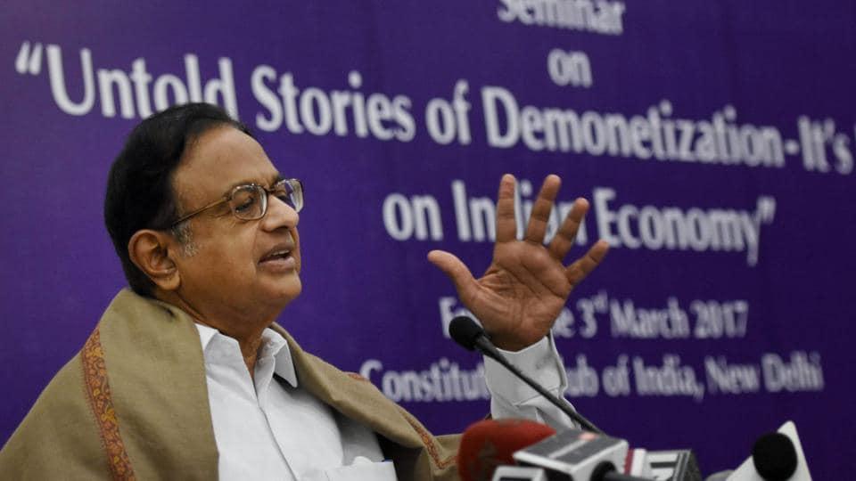 Former finance minister P Chidambaram addresses a seminar on 'Untold stories of Demonetisation' in New Delhi on Friday.